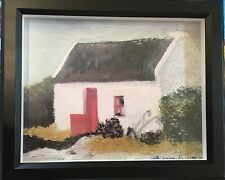"Ireland Thatched Roof Cottage Irish Home 8""x10"" oil painting print Framed Black"