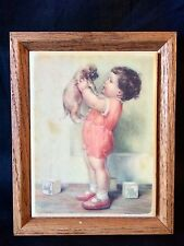 TILE ART OAK WOOD FRAME KIMBERLY ENTERPRISES INC. RARE GIRL & DOG SCENE Trivet
