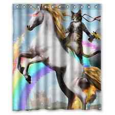 Funny Unicorn and Cat Polyester Fabric Waterproof Shower Curtain 60 x 72 Inch