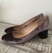 NEW J.CREW LUCITE HEELS IN VELVET SIZE 11M ASH BROWN F6137 $268 SOLD OUT!