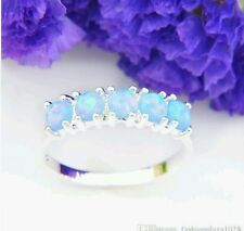 Size:8:Q  925 Sterling Sliver Crystal Blue fire Opal Ring. UK STOCK