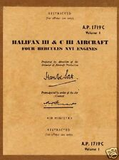 HANDLEY PAGE HALIFAX RARE WW2 archive manual WWII historic detail 1940's