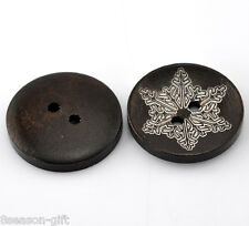 """50PCs Dark Coffee Flower Pattern 2 Holes Round Wood Sewing Buttons 25mm(1"""") Dia."""