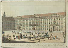 Wien Innere Hofburg: C. Schütz + S. Mansfeld Artaria 1815 kolorierte Radierung