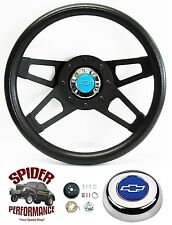 "1969-1994 Camaro steering wheel BLUE BOWTIE BLACK 4 SPOKE 13 1/2"" Grant"