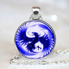 Blue Phoenix Cabochon Glass Tibet Silver Chain Pendant Necklace HZ#140