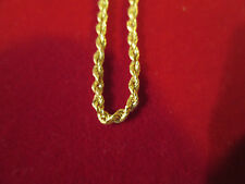 Women's Girls 10k Gold hollow Rope Chain 20 inch Lobster Clasp Chain