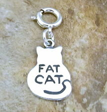 "Sterling Silver ""Fat Cat"" Charm with Spring Ring for Charm Bracelets-3338"