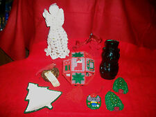 11 HAND MADE CHRISTMAS ORNAMENTS ANGELS BIRD NEST TREE BALL SNOWMAN COLLECTIBLES