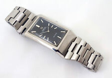 OMEGA CHUNKY RECTANGLE VINTAGE DE VILLE  BLACK DIAL AUTO SS BRACELET MAN'S WATCH