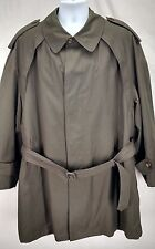TOWNE by LONDON FOG Mens Green Lined Over Coat Raincoat Trench Coat Sz 2X or 3X