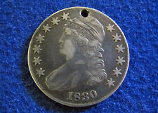 1830 Capped Bust Half Dollar - Very Fine+ - Free Hole - Free U S Shipping