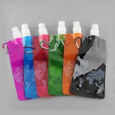 Outdoor Portable Folding Plastic Collapsible With Buckle Water Bottle Holder Bag