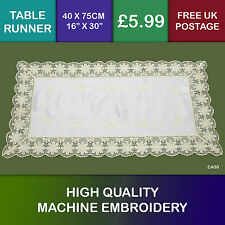 Yellow Gold Embroidered Table Runner with Lace Edge Trim CA30