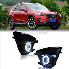 2x LED DRL Daytime Fog Lights Projector+angel eye kits For Mazda CX-5 2012-2016