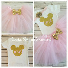first birthday outfit ,Minnie Mouse outfit,Pink And Gold Onesie,Handmade