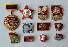 Lenin pin badge Lot of 11 Russian communist pins Soviet KPSS komsomol vintage