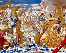 CONSTANTINE VS LICINIUS NAVAL BATTLE TAPESTRY PAINTING WAR ART REAL CANVASPRINT