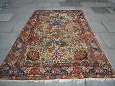"Antique HANDMADE Oriental animal scene Cream Wool Rug 275x178cm 9'2""x5'11"""