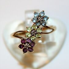 9ct Yellow Gold Triple Flower Amethyst Peridot Topaz Diamond Ring size P ~ 7 3/4