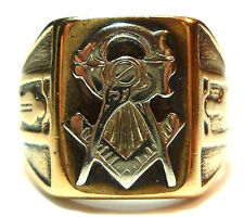 ANTIQUE OLD MASONIC MASON FRATERNAL CREST 10K YELLOW WHITE GOLD MENS SHIELD RING