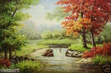 "Oil Painting Stretched Canvas 24""x36""- River Landscape Trees WaterFall Autumn"
