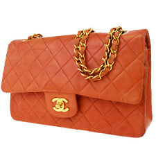 Auth CHANEL CC Matelasse Double Flap Quilted Chain Shoulder Bag Leather 605W935