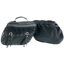 Genuine Buffalo Black Leather Motorcycle Luggage Set Universal Fit Saddlebags
