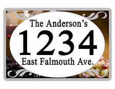 Personalized ADDRESS Sign YOUR NAME Weather Proof Aluminum SIGN FULL COLOR Wine