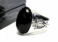 Designer Silver Shield Ring With Black Diamonds And Large Onyx Center