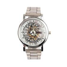 Men's Leather Stainless Steel Sport Wrist Watch Automatic Mechanical Watch PO