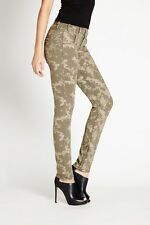 GUESS Women's Low-Rise Moto-Seam Skinny Jeans in Tinted Camo Wash sz 29