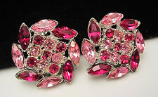 "Rare Vtg 1"" Signed Bogoff Silvertone Red Pink Rhinestone Clip On Earrings A29"