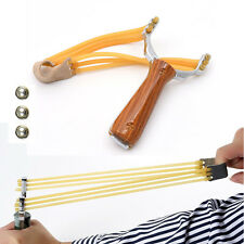 Powerful Steel Slingshot Catapult Outdoor Marble Games Hunting Sling shot+3BALLS