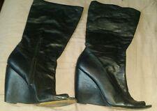 NINEWEST Leather Peep Toe Black Womens Boots Wedge Heel 9M