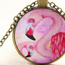 New Pink Flamingo Birds Necklace Cabochon Pendant, Totem Animal Gift Jewellery