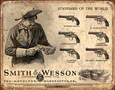 Smith & Wesson Revolvers Vintage Tin Sign Gun Wall Art Man Cave Home Decor New