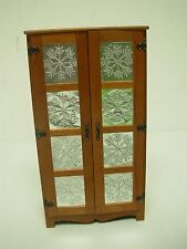 ARTISAN SIGNED INITIALS DOLLHOUSE MINIATURE ARMOIRE PIERCED TIN SNOWFLAKE DOORS