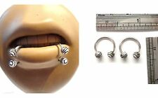 Surgical Steel Zebra Stripe Balls Horseshoes Snake Bites Lip Hoops 16 gauge 16g
