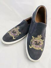 RALPH LAUREN Purple Label blue suede polo pony loafer slip on sneakers 11D