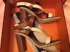 Authentic TORY BURCH MARBELLA BROWN/IVORY LEATHER SANDALS SZ 10