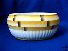 Alter Ovaler Keramik-Topf Schale Schüssel Dose Spritzdekor gelb braun 30er 40er