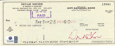 Dinah Shore Autographed/Signed Bank Check With Global COA-Singer-Actress-TV