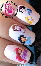 NAIL ART WATER TRANSFERS DECAL STICKERS PRINCESS ARIEL BELLE AURORA JASMINE #101
