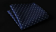 HD2009B Blue Polka Dot Men 100% Silk Satin Handkerchief Pocket Square Hanky