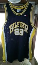 Mens Tommy Hilfiger Basketball Jersey Size XL Navy Blue Yellow 88 Vintage 90s