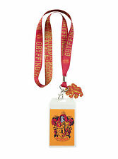 Harry Potter School House GRYFFINDOR ID Card Holder Neckstrap Lanyard W/ Charm