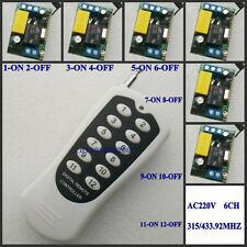AC 220V 6CH Latched Remote Control Switch 2KEY1RX Wall Lamp Ceiling Lights Remot