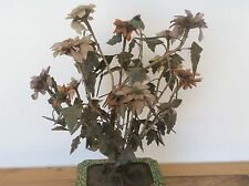 Antique Chinese Jade Hard stone Peony Tree in Cloisonne Jardiniere C 1890 49cmH