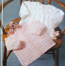 Vintage Knitting Pattern Baby Clothes 2 Styles Matinee Coats DK & 4 Ply J460